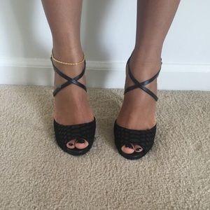 Faux snake skin heels strappy cross over
